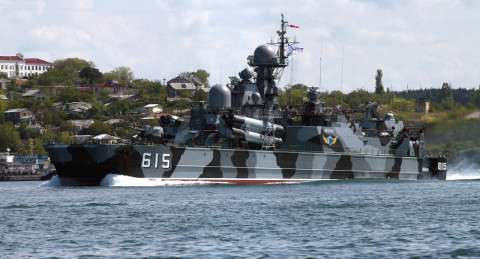 12.3.2015: Russian Black Sea Fleet Warships in Artillery, Missile Drills