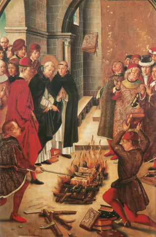 1400-Pedro Berruguete- burning-books of the Cathars-Saint Dominic
