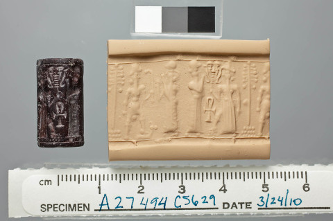 Dvanáctá planeta, obr. 12b: Cylinder Seal from Tell Tayinat, 1600 BC–1500 BC. Source: Syro-Anatolian Gallery
