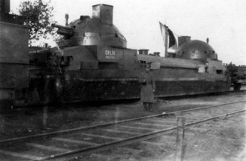 Bolshevik armored train captured by Czechoslovaks, Vladivostok, 1919