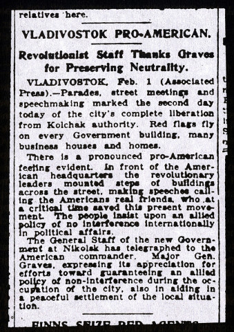 Bolsheviks in Vladivostok calling the Americans real friends, who at a critical time saves this present movement, New York Times, February 1, 1920 7,4