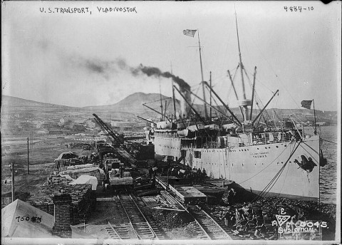 US transport boat Thomas, 1919, Vladivostok, Russia