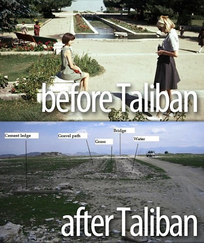 Afghanistan: Jan (left) and Peg (right) Podlich at Paghman Gardens, which was destroyed during the years of war before the 2001 U.S. invasion of Afghanistan