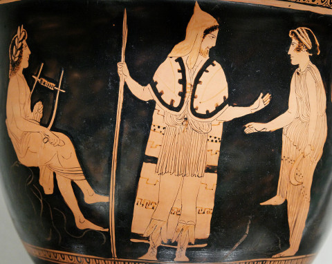 Orpheus amongst the Thracians (left). Greek, Attic Terracotta bell-krater (bowl for mixing wine and water). Ca 440BC.