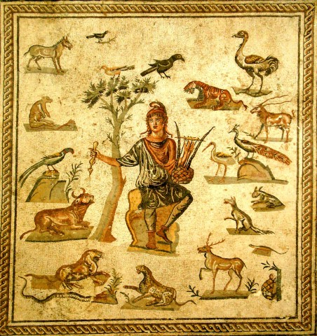 Roman mosaic depicting Orpheus, wearing a Phrygian cap and surrounded by the beasts charmed by the music of his lyre