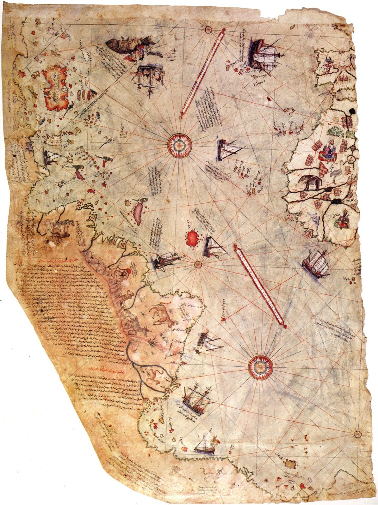 Piri Reis' Chart of the Ocean Sea 1513. Left: South America displaying a cynocephalus (dog-headed man), a blemmya (man with his face on his chest) and new world animals. Right: Northwest African coast. NOTE: The fact that half of each of lines is missing is the clearest proof of the map's having been torn in two.