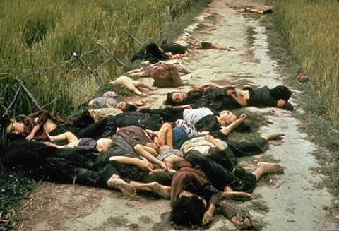 US democracy in Vietnam: Over 200 civilians are killed by USA soldiers in the village of My Lai. The media held the story for months before it became public knowledge. Colin Powell, later in the USA government, was involved in the cover-up.