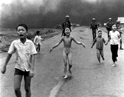 US democracy in Vietnam: Children running after a napalm attack. The girl in the centre has had her clothes and part of her skin burnt off.