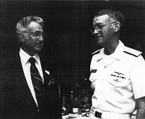 William Tompkins (left) in 2000 with Admiral Larry Marsh at the Southern Oregon Navy League Council.