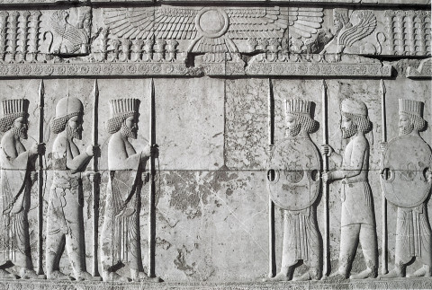 5th century BC, Apadana Hall, carving of Persian and Median soldiers in traditional costume