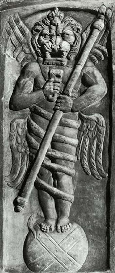 Aion (god of eternity) on Globe. Relief from the Villa Albani, period of Commodus (AD 180-93). Rome, Museo Torlonia — The worship of Zurvan is seen again in Mitrism in the statues of the god Aion and is also Kronos-Saturn as a God of Time.