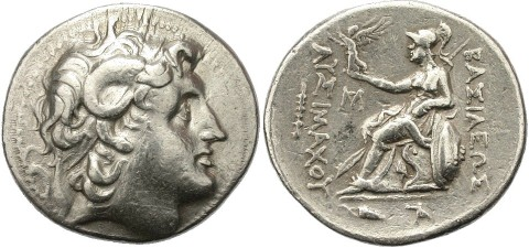 Alexander the Great as Zeus Ammon; Silver tetradrachm; obverse diademed head of the deified Alexander, with horn of Ammon; reverse Athena Nikephoros seated left, Nike in right crowning king's name with wreath; 280-250 BC