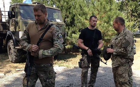 Andriy Biletsky, in black T-shirt, commander of Ukraine's Azov battalion (Photo: Tom Parfitt)