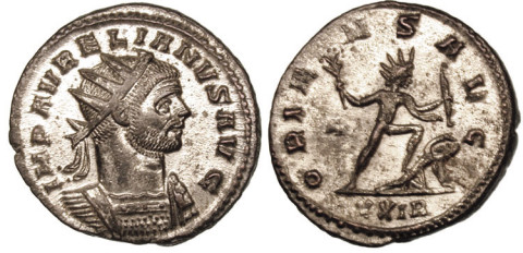 Aurelian in his radiate crown, on a silvered bronze coin struck at Rome, 274–275