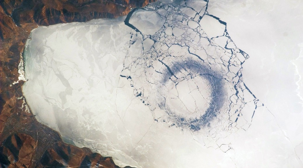 Baikal — Circle of thin ice, diameter of 4.4 km (2.7 mi) at the lake's southern tip (caused by convection?!)