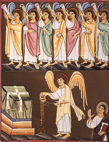 The Seven Trumpets and the angel with a censer. Ca. 1000 AD. Bamberg, Staatsbibliothek, MS A. II. 42