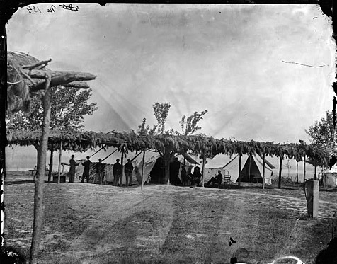 Archival photo of a Civil War field hospital