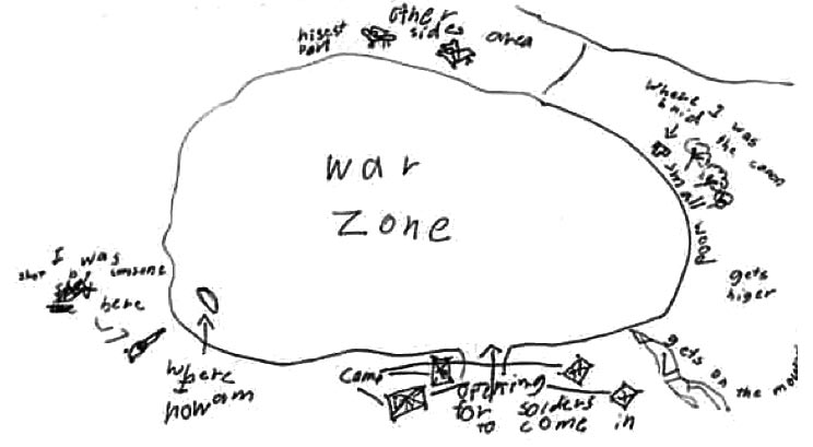 Chase's drawing of an aerial view of the battlefield where he died