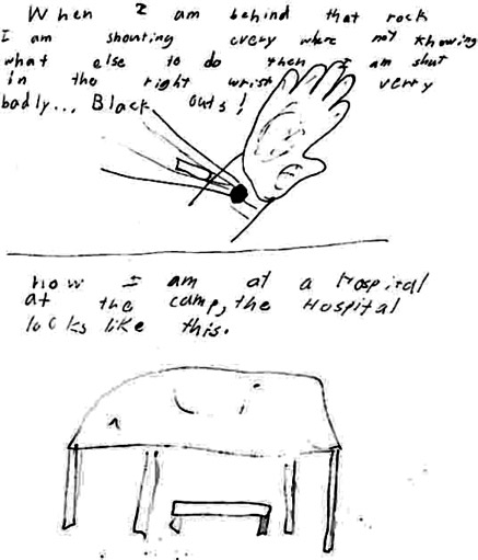 Chase's drawings of his wounded wrist and the hospital where he was taken when wounded in battle