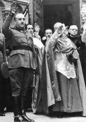 Catholic Church demonstrating its support of the Falangist (Fascist) General Francisco Franco.