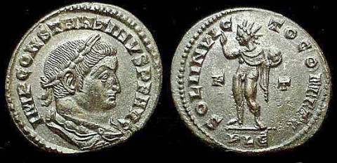 Coin of Emperor Constantine I depicting Sol Invictus with the legend SOLI INVICTO COMITI, circa 315