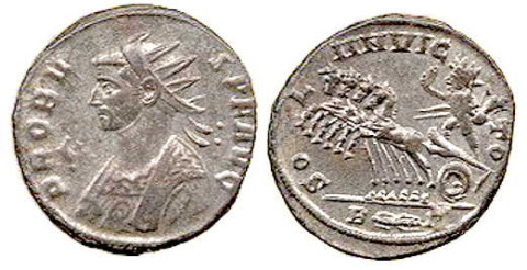 Coin of Emperor Probus, circa 280, with Sol Invictus riding a quadriga, with legend SOLI INVICTO.