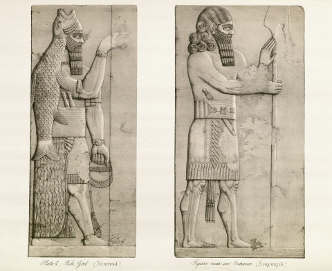 Dagon-Fish God (Nimroud), Figure Near an Entrence (Kouyunjuk). From Austen Henry Layard. A Second Series of the Monuments of Nineveh. London-Murray, 1853, pl. 6