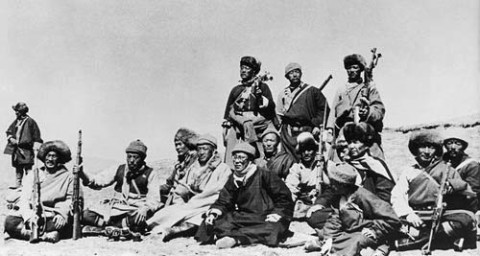 14th Dalai Lama (sixth from left) flees from Tibet to India across the Himalayas, following a failed uprising against the Chinese occupation, 1959.  Of all the lies that surround the Dalai Lama, surely the greatest is that he is a champion of non-violence. This aspect of the image that he likes to portray of himself and with which he has mesmerised the media and much of the world is actually just another part of the myth. The truth of the matter is that from the mid-1950s through to the mid-1970s there was an active and violent Tibetan resistance movement that was funded by the CIA. (Photo by Popperfoto)