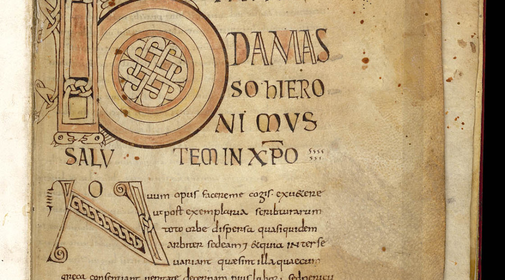 Egerton 609: Gospels with the Epistle to Damasus. Decorated initials (B)eato and (N)ovum with interlace at the beginning of Jerome's letter to Pope Damasus, Parchment codex, 9th century.
