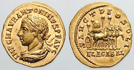 Roman aureus depicting Elagabalus. The reverse reads Sanct Deo Soli Elagabal (To the Holy Sun God Elagabal), and depicts a four-horse, gold chariot carrying the holy stone of the Emesa temple. Struck 218-219 AD. Antioch mint.