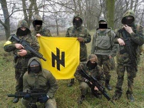 Flag of the Azov Battalion, also 1st sign of Social-National Party of Ukraine