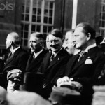 Members of the Cabinet Hitler, which was formed in January 1933, are pictured during the parade of the Reichswehr after the ceremonial opening of the Reichstag in the Garrison Church in Potsdam, Germany, 21 March 1933. From left: Reich Minister of the Interior, Wilhelm Frick, Vice Chancellor Franz von Papen, Reich Chancellor Adolf Hitler, and Reich Minister Hermann Göring. Photo: Berliner Verlag/Archiv