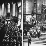 Left. Hitler's Brown Army attending church services. Published by Nazis during Hitler's reign in. Right: Das Braune Heer, mit einem Geleitwort von Adolf Hitler