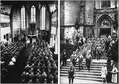 Hitler's Brown Army attending church services. Published by Nazis during Hitler's reign: Das Braune Heer, mit einem Geleitwort von Adolf Hitler.