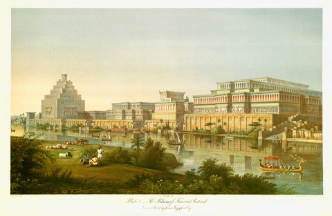 James Fergusson. The Palaces of Nimroud Restored. From Austen Henry Layard. A Second Series of the Monuments of Nineveh. London- Murray, 1853, pl. 1