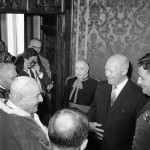 John XXIII speaks with President Eisenhower during an audience granted in the Pontiff's private library