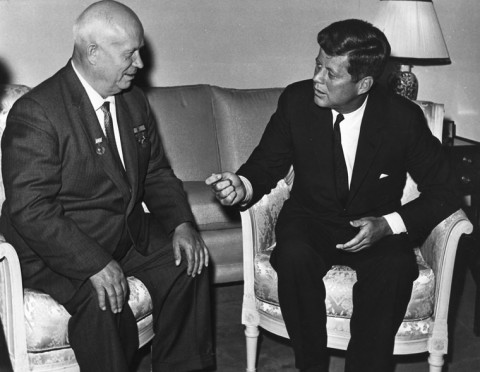 President Kennedy meets with Chairman Khrushchev at the U. S. Embassy residence, Vienna, 03 June 1961. U.S. Dept. of State photograph in the John Fitzgerald Kennedy Library, Boston.