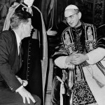 Kennedy and Pope Paul VI talk at the Vatican in this July 2, 1963-only days after his coronation