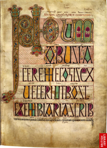 Page 2 of Lindisfarne Gospels, one of the most magnificent manuscripts of the early Middle Ages, was written and decorated at the end of the 7th century by the monk Eadfrith, who became Bishop of Lindisfarne in 698 and died in 721. The first of five major decorated openings in the manuscript introduces the letter which St Jerome addressed to Pope Damasus, at whose request he carried out the revision of the Latin Bible text during the late 4th century. A cross-carpet page, named from its striking resemblance to a carpet composed of crosses, faces a page of decorated initials and display capitals, beginning with the Latin word 'Novum', new.
