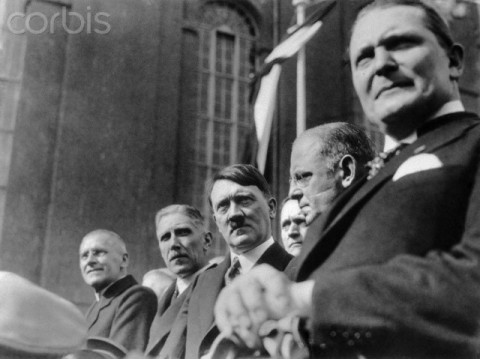 Members of the Cabinet Hitler, which was formed in January 1933, are pictured during the parade of the Reichswehr after the ceremonial opening of the Reichstag in the Garrison Church in Potsdam, Germany, 21 March 1933. From left: Reich Minister of the Interior, Wilhelm Frick, Vice Chancellor Franz von Papen, Reich Chancellor Adolf Hitler, and Reich Minister Hermann Göring.