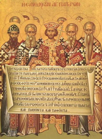 Icon depicting the Emperor Constantine and the bishops of the First Council of Nicaea (325) holding the Niceno–Constantinopolitan Creed of 381.