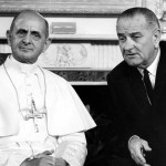 Paul VI, left, and President Lyndon B. Johnson are seen during the Pontiff's visit to New York in this October 4, 1965