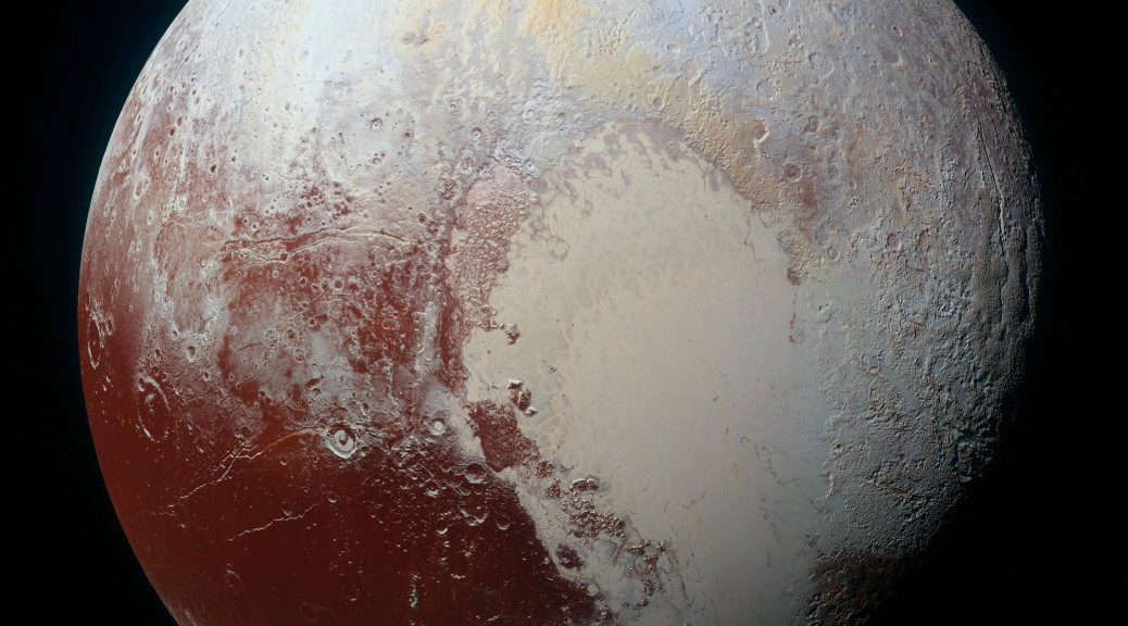 Planet Pluto: NASA's New Horizons spacecraft captured this high-resolution enhanced color view of Pluto on July 14, 2015. The image combines blue, red and infrared images taken by the Ralph/Multispectral Visual Imaging Camera (MVIC)