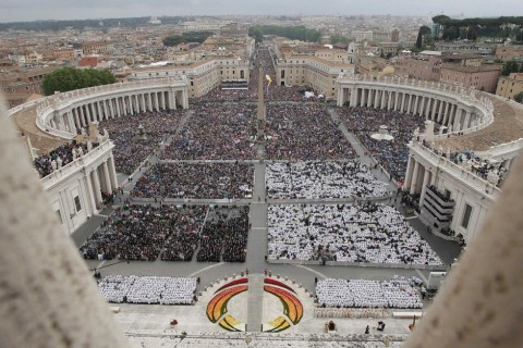 St Peter's Square packed during canonisation of Popes John XXIII and John Paul II