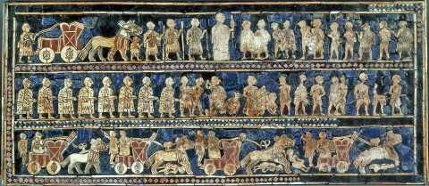Standard of Ur comes from the ancient city of Ur (located in modern-day Iraq south of Baghdad), 2600 BC.