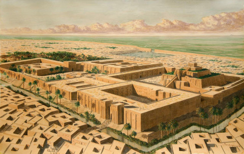Reconstruction of the Sumer city of Ur in southern Mesopotamia c.2000 BC, based on excavation. Source: www.staff.ncl.ac.uk