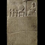 Meeting of gods on the Tablet of Shamash shows the Sun god Shamash on the throne, in front of the Babylonian king Nabu-apla-iddina; British Library room 55; found in Sippar (Tell Abu Habbah), in Ancient Babylonia; 9th century BC