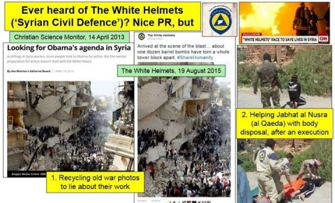 White Helmets Are A Propaganda Construct. Before they were called the White Helmets, they were called the Islamic State Fire brigade by rebels and ISIS.