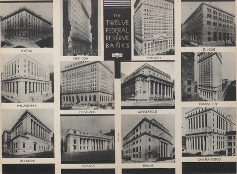 Twelve Reserve Banks buildings from 1936