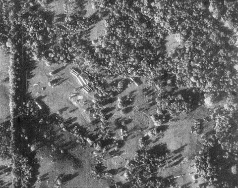 In the year 1962 U-2 reconnaissance photo showed concrete evidence of missile assembly in Cuba. Shown here are missile transporters and missile-ready tents where fueling and maintenance took place.